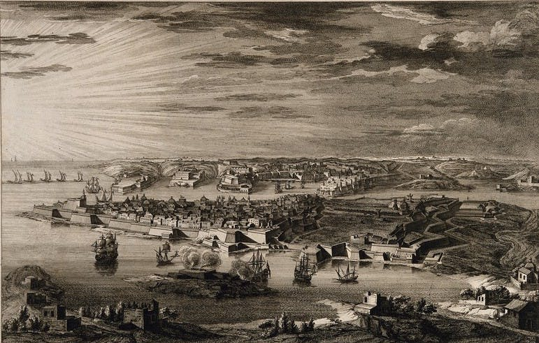 A painting of the quarantine area of Malta.
