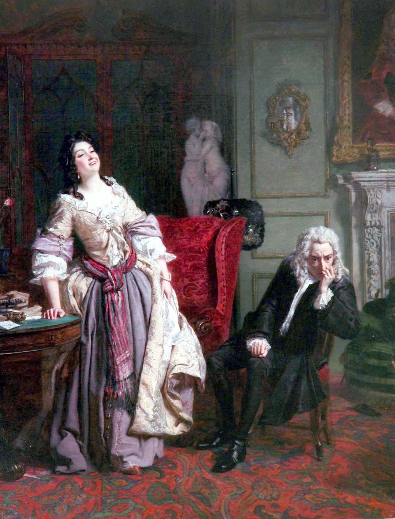 Alexander Pope declared his love to Lady Mary, who responded with laughter. A painting by William Firth