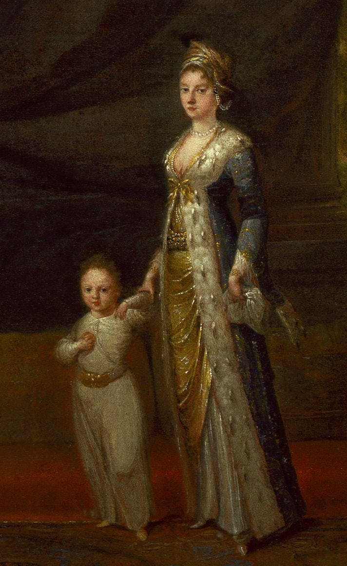 Lady Mary Wortley Montagu with her son Edward, by Jean-Baptiste van Mour