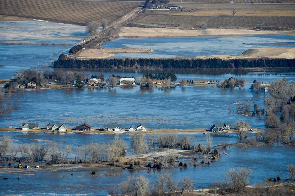 A flooded countryside in Nebraska.