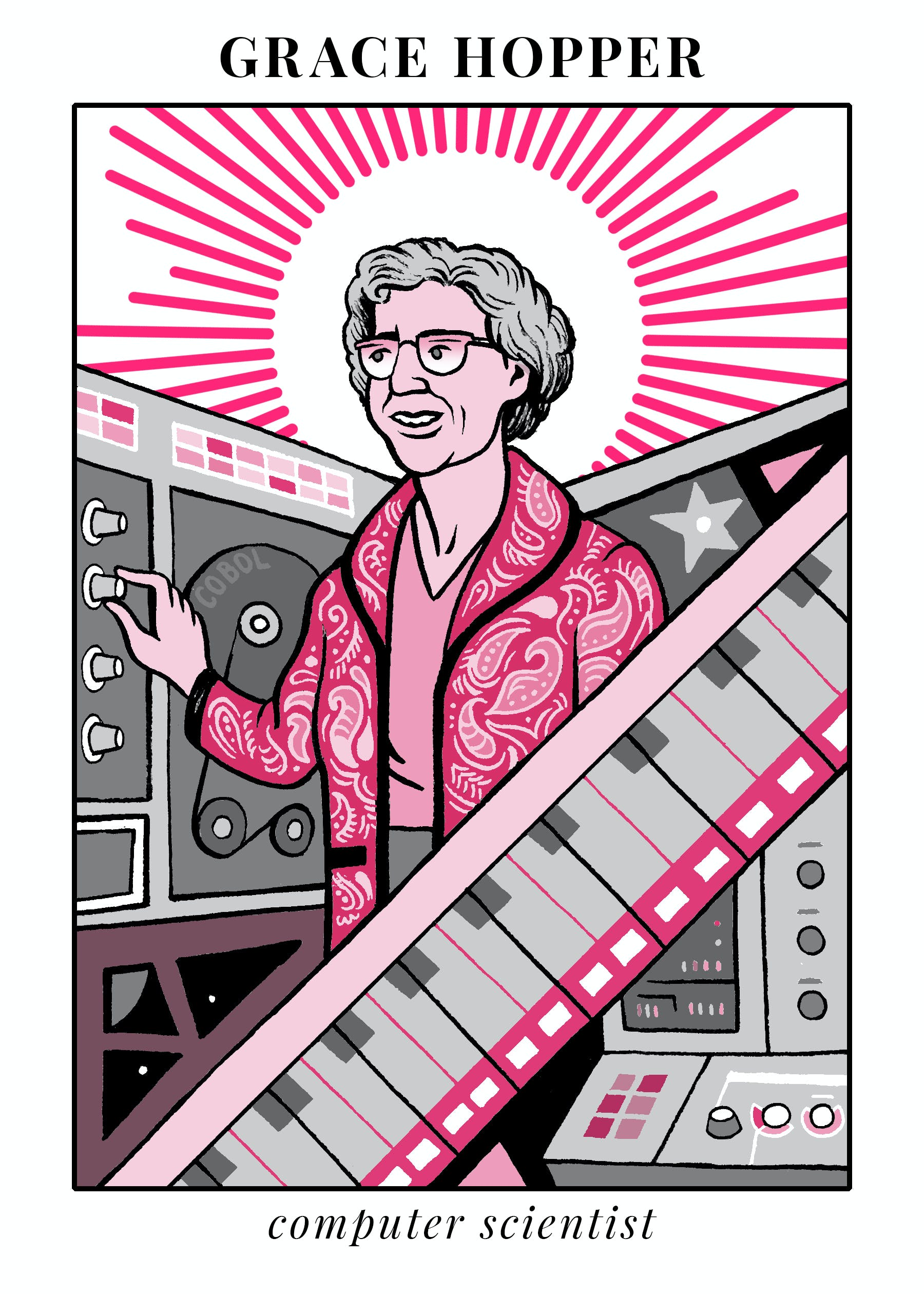 Tarot card image of Grace Hopper surrounded by computers and machines