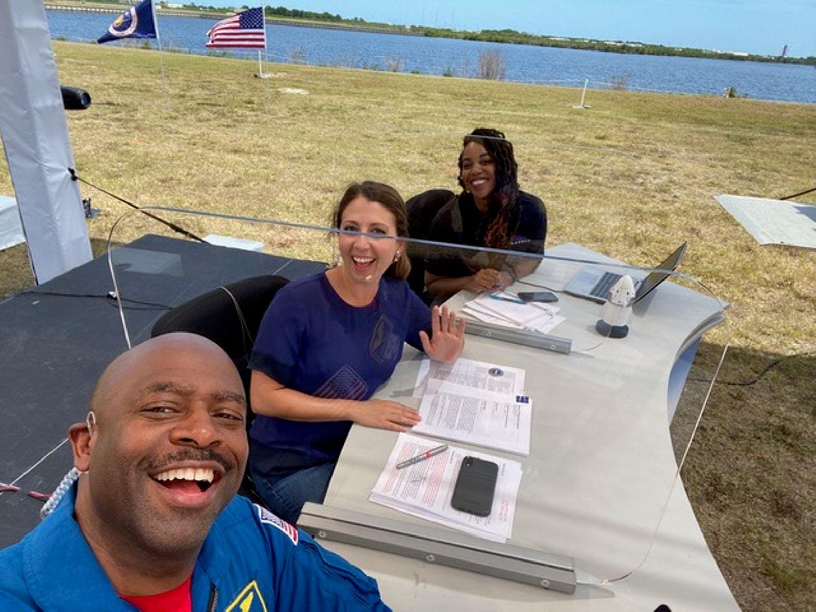 Astronaut Leland Melvin taking a selfie