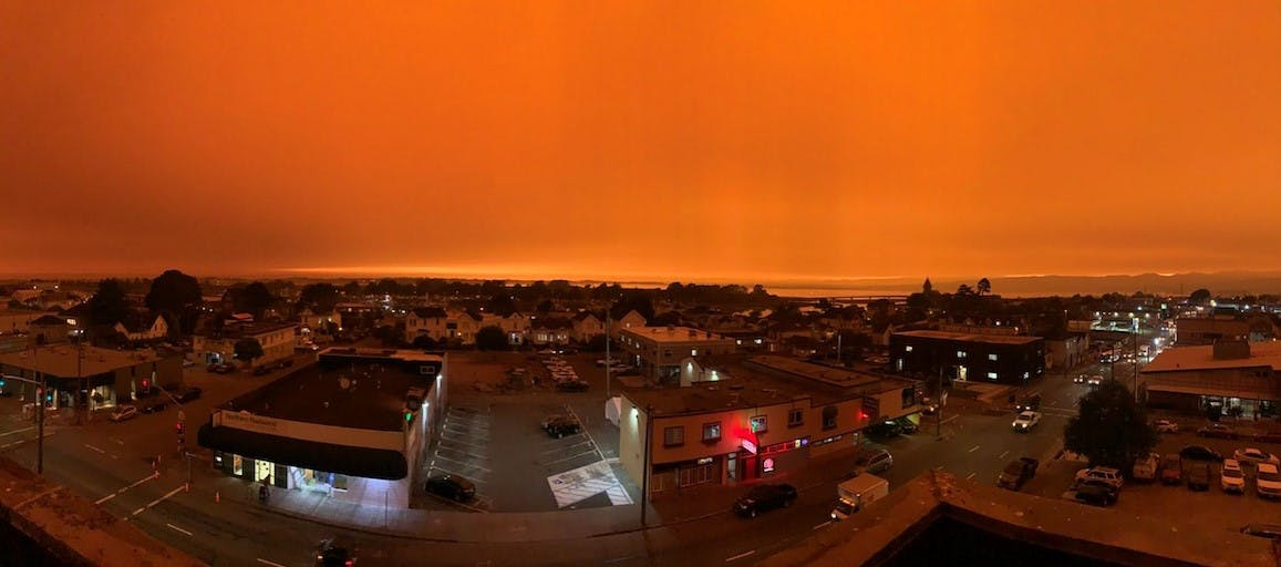 A National Weather Service photo from the top of the Humboldt County Courthouse with smoke from inland and Oregon fires covering the county.