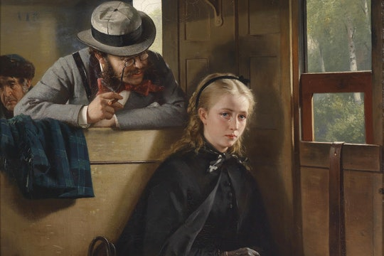 The Irritating Gentleman by Berthold Woltze. A painting of an annoying man leaning over a train seat to badger a woman minding her own business.