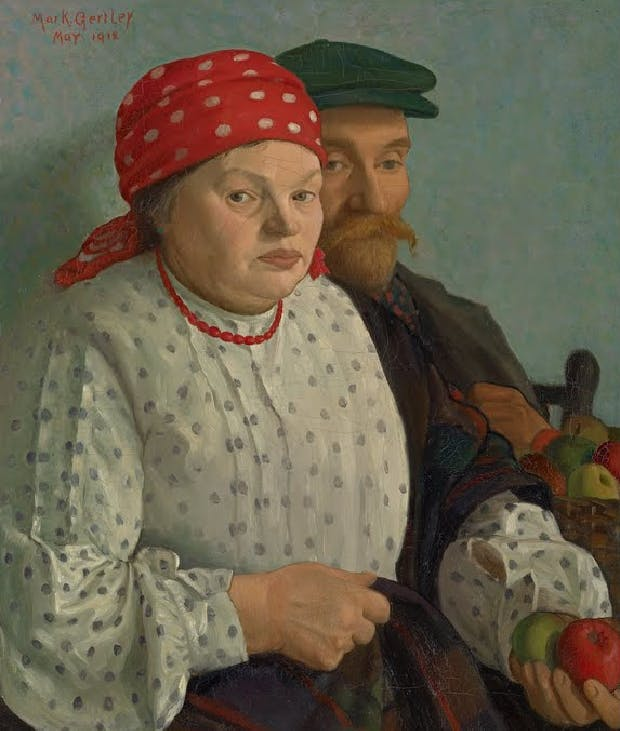 A painting of a man and a woman, dressed in 19th century European style, holding apples.