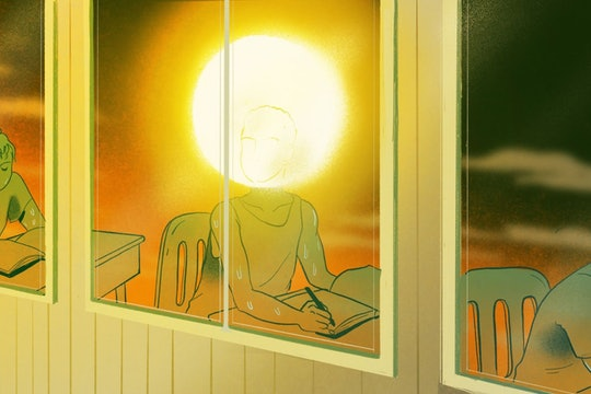 a cartoon of a student sitting in a classroom with the sun for their head