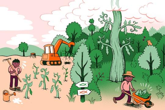 GMO illustration with farmers