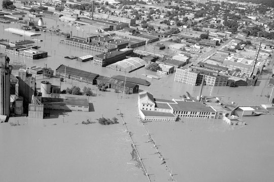 An overhead view of Richmond completely underwater after flooding from Hurricane Agnes, 1972.