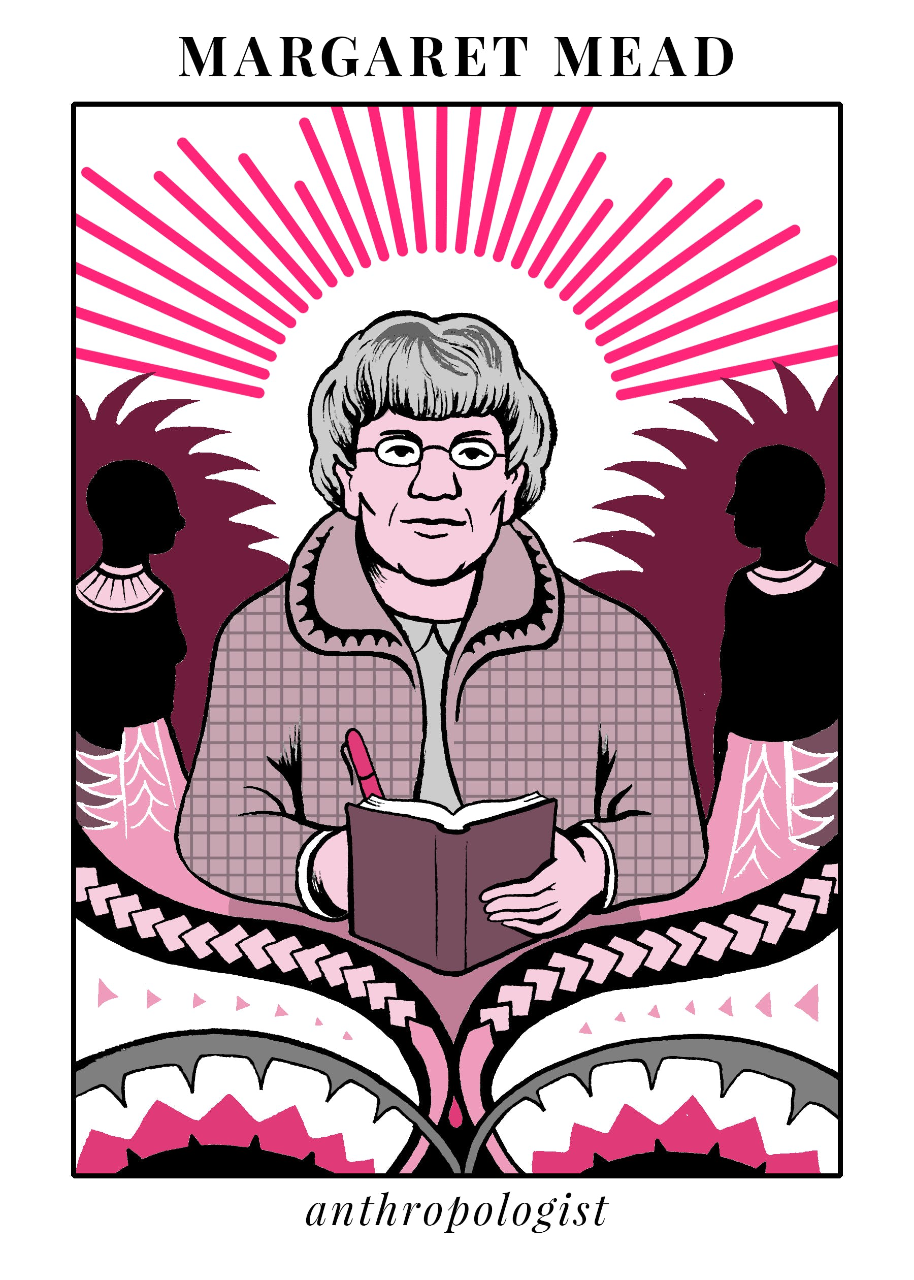 A painting of anthropologist Margaret Mead, who studied sexuality in Samoan culture. She was an instrumental figure in 20th century feminism.