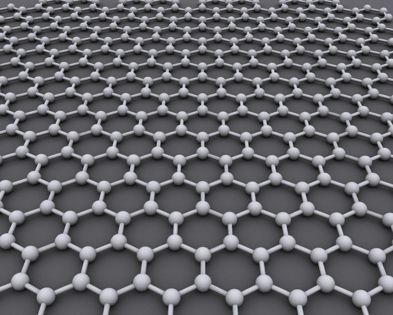 A model of graphene structure, showing a web of connected hexagons