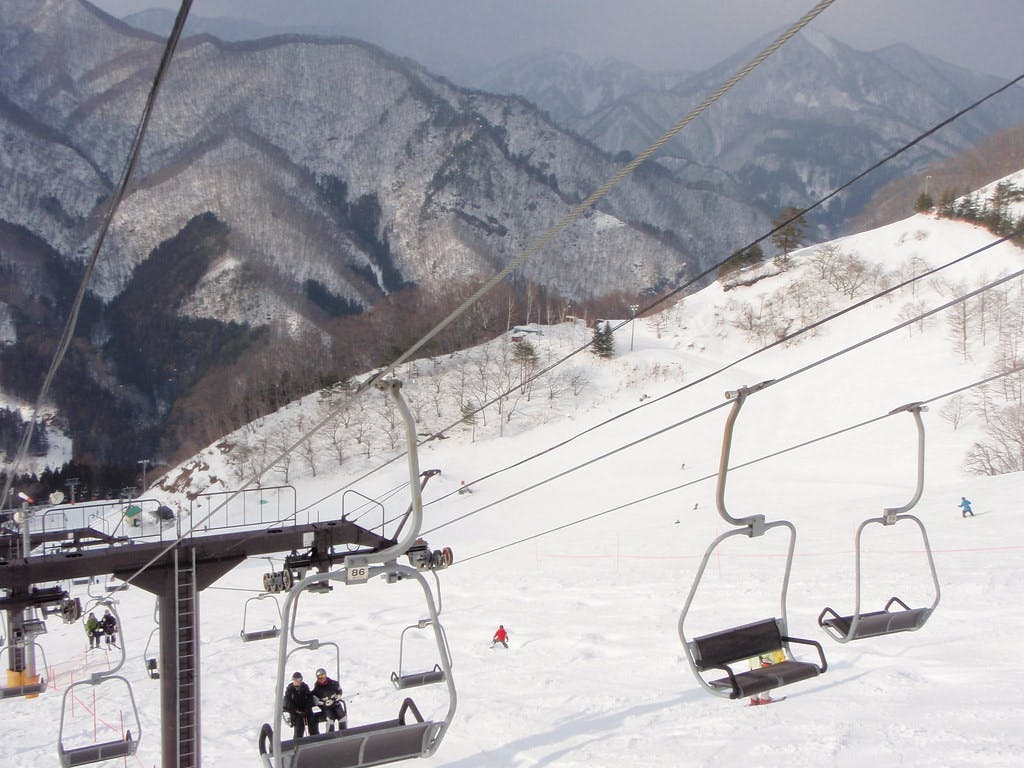 A chairlift at a mountain ski resort, Okutone ski resort.