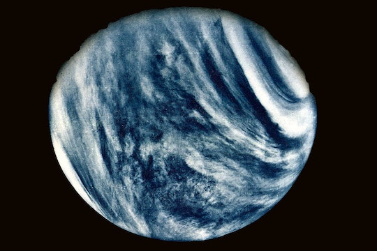 A picture of the planet Venus, with acidic clouds highlighted