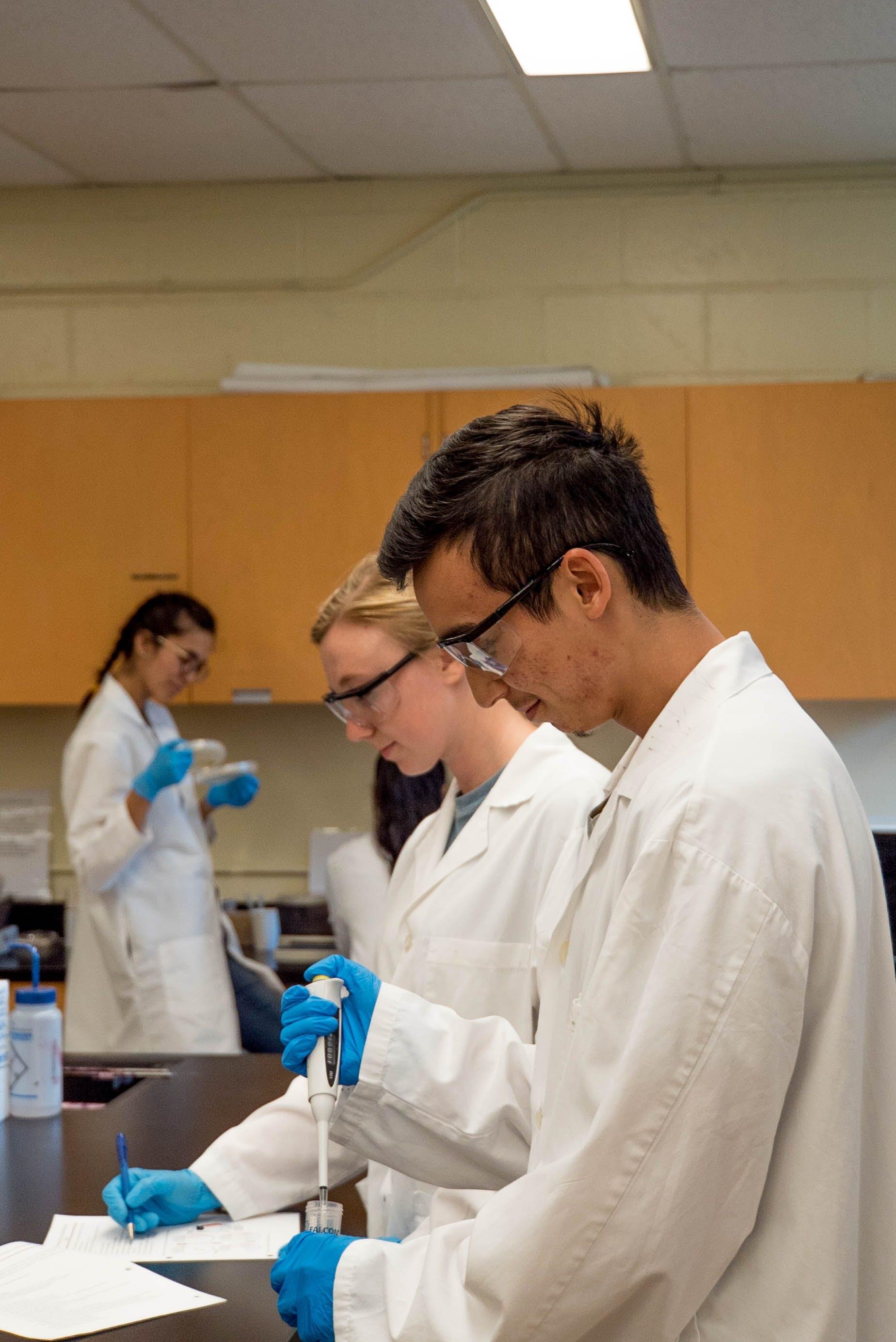 scientist doing science lab coat gloves beaker data