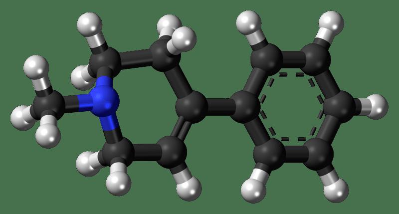 model of MPTP showing the molecule's arrangement
