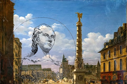 Sketch of Sophie German overlooking a painting of Place du Châtelet, made in 1810 by Étienne Bouhot