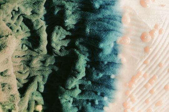 """a """"landscape"""" of green and blue folds and tan bubbles"""