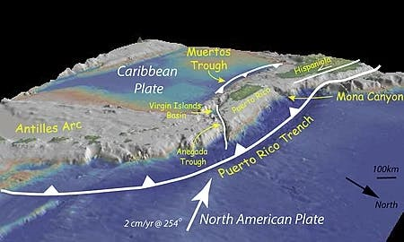 Puerto Rico from the northeast showing the Puerto Rico trench to the north of the island and the less active Muertos Trough to the south of Puerto Rico.