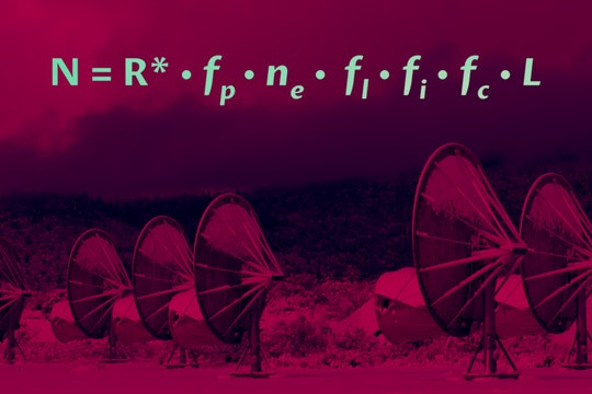 large satellite dishes and an equation