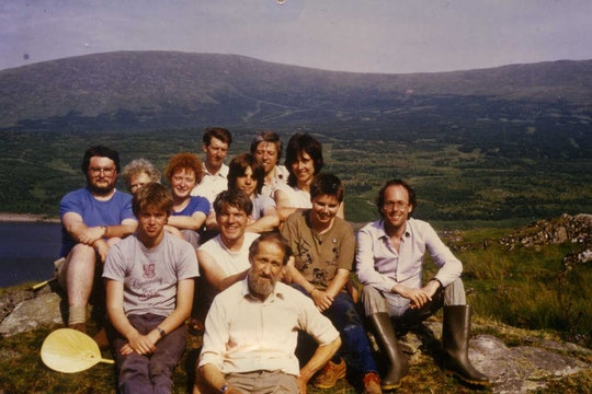 Team photo for archaeological dig investigating Mesolithic communities led by Tom Affleck at Loch Doon in 1985.