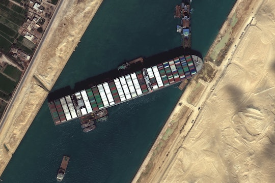 A satellite image of the Ever Given plugging the Suez Canal