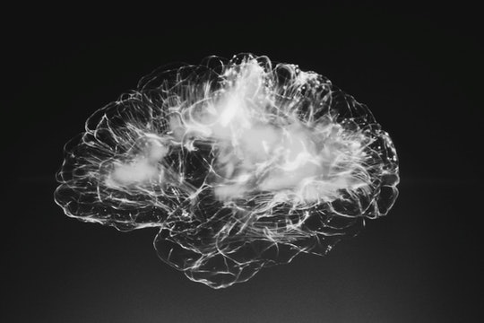 glowing white connections forming the shape of a brain