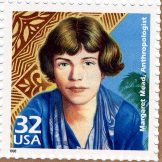 a stamp with an illustration of margaret mead