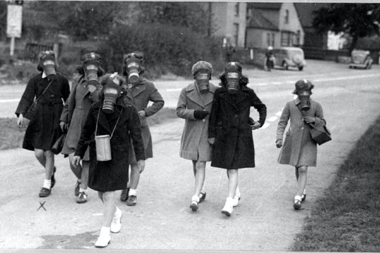 Children participate in a gas mask practice in the 1940s, Hallow Village Green