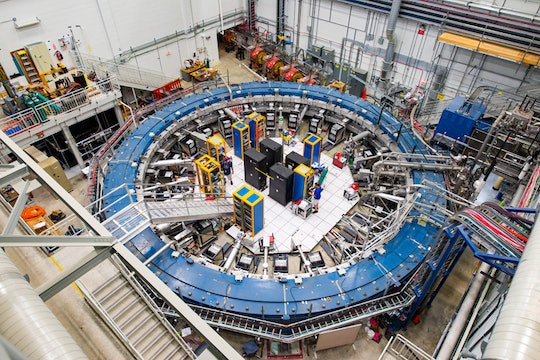 The muon g-2 ring in the detector hall at Fermilab