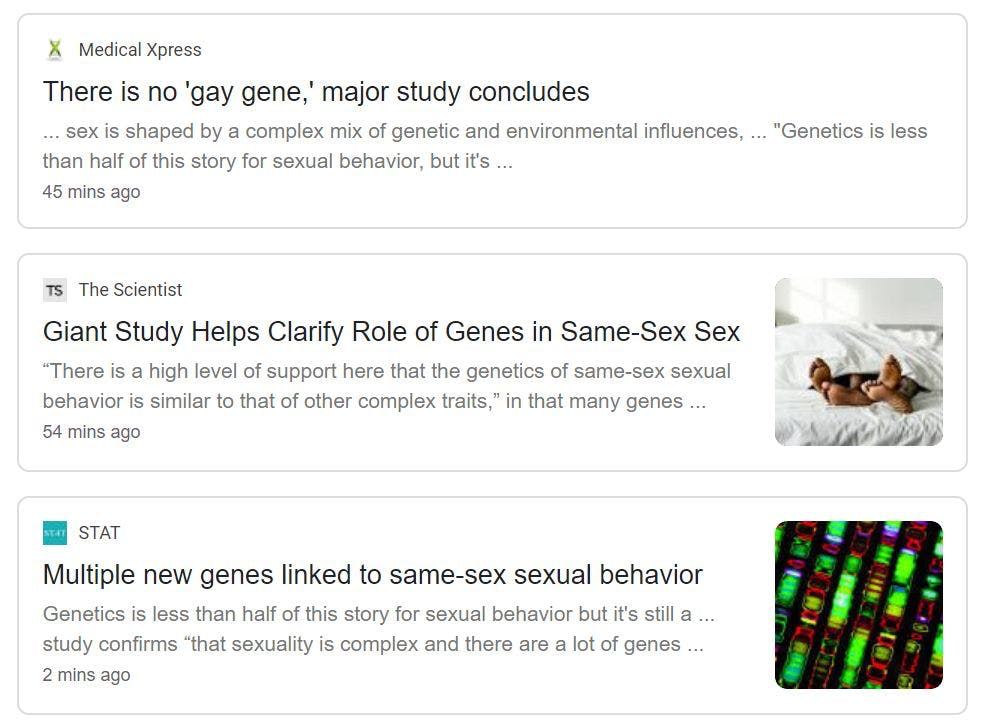 A screenshot of headlines with different conclusions covering the Science story on the genetics of same sex behavior.
