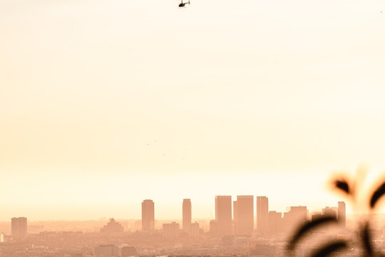 A helicopter flying over Los Angeles