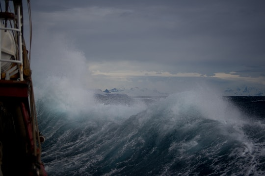 large waves with sea spray
