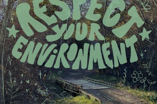 """A '70s-esque logo saying """"Respect Your Environment"""" over a forest path"""