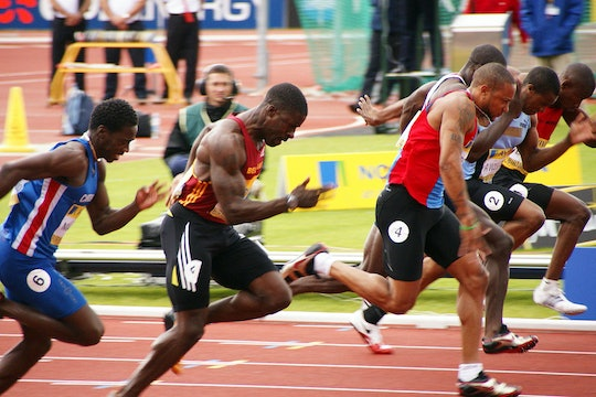 Sprinters, including Christian Malcolm, Dwain Chambers, Rikki Fifton, competing at the UK Olympic Trials, Alexander Stadium, Birmingham, 2008