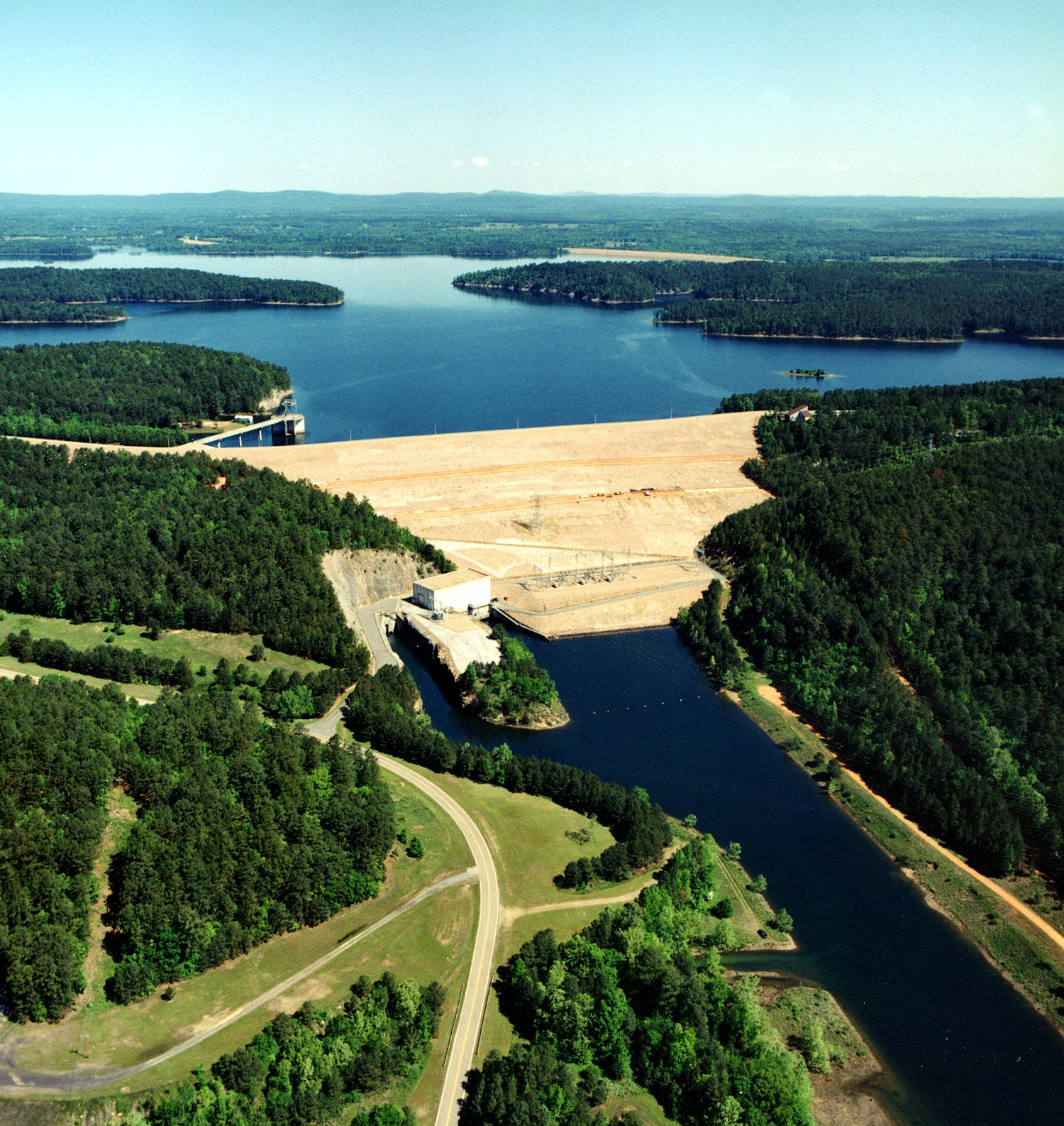 DeGray Dam and DeGray Lake (back) on the Caddo River in Hot Spring County, Arkansas.
