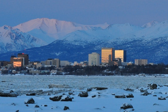 Cityscape of Anchorage, Alaska, in the winter