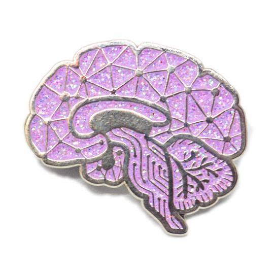 pink brain enamel pin