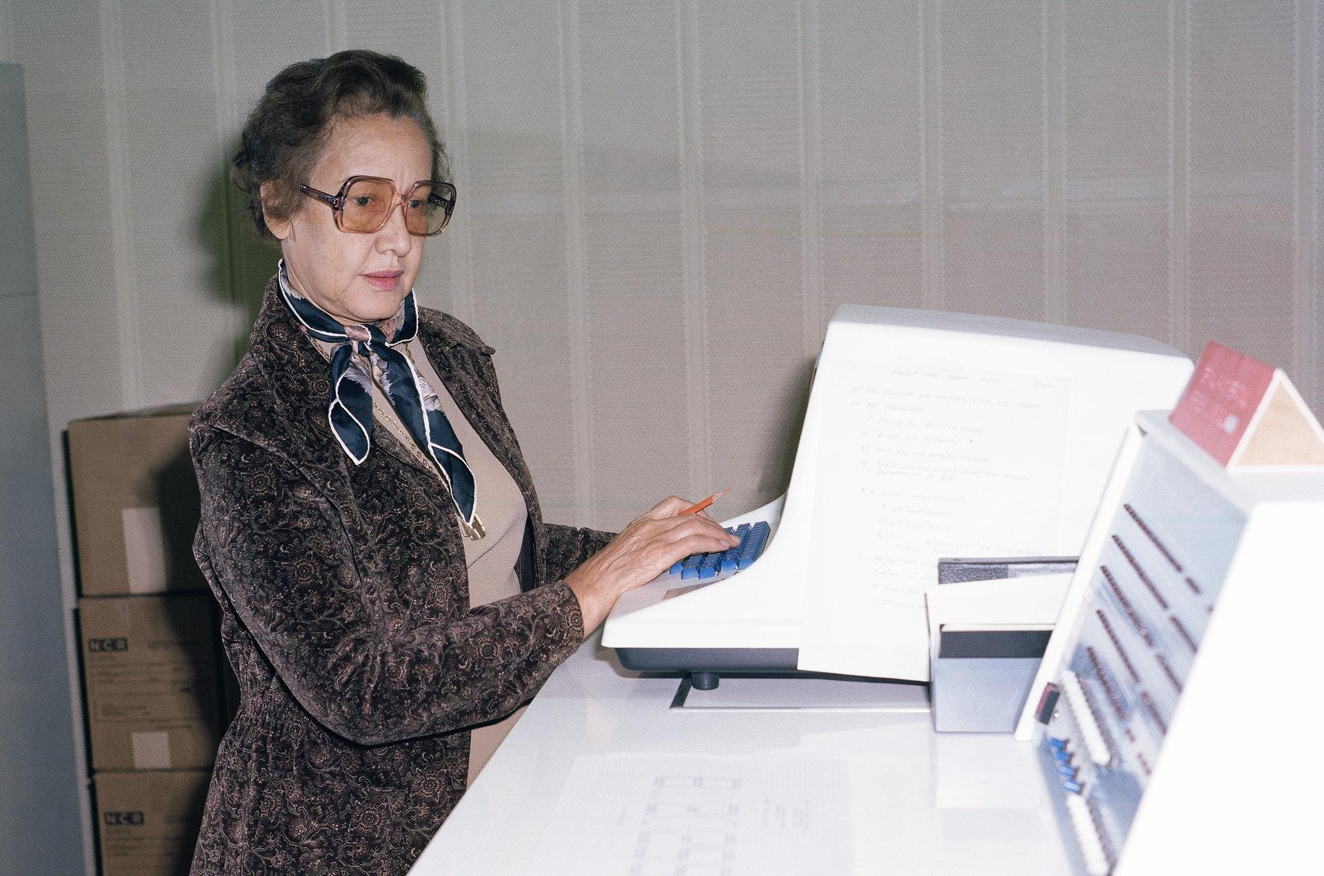 Johnson working at NASA Langley, 1980.