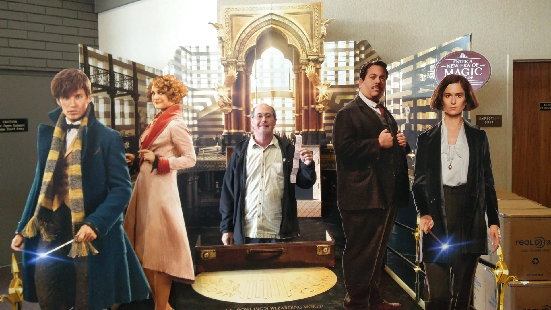 Ben Barres posing with characters from the Harry Potter movie Fantastic Beasts and Where to Find Them