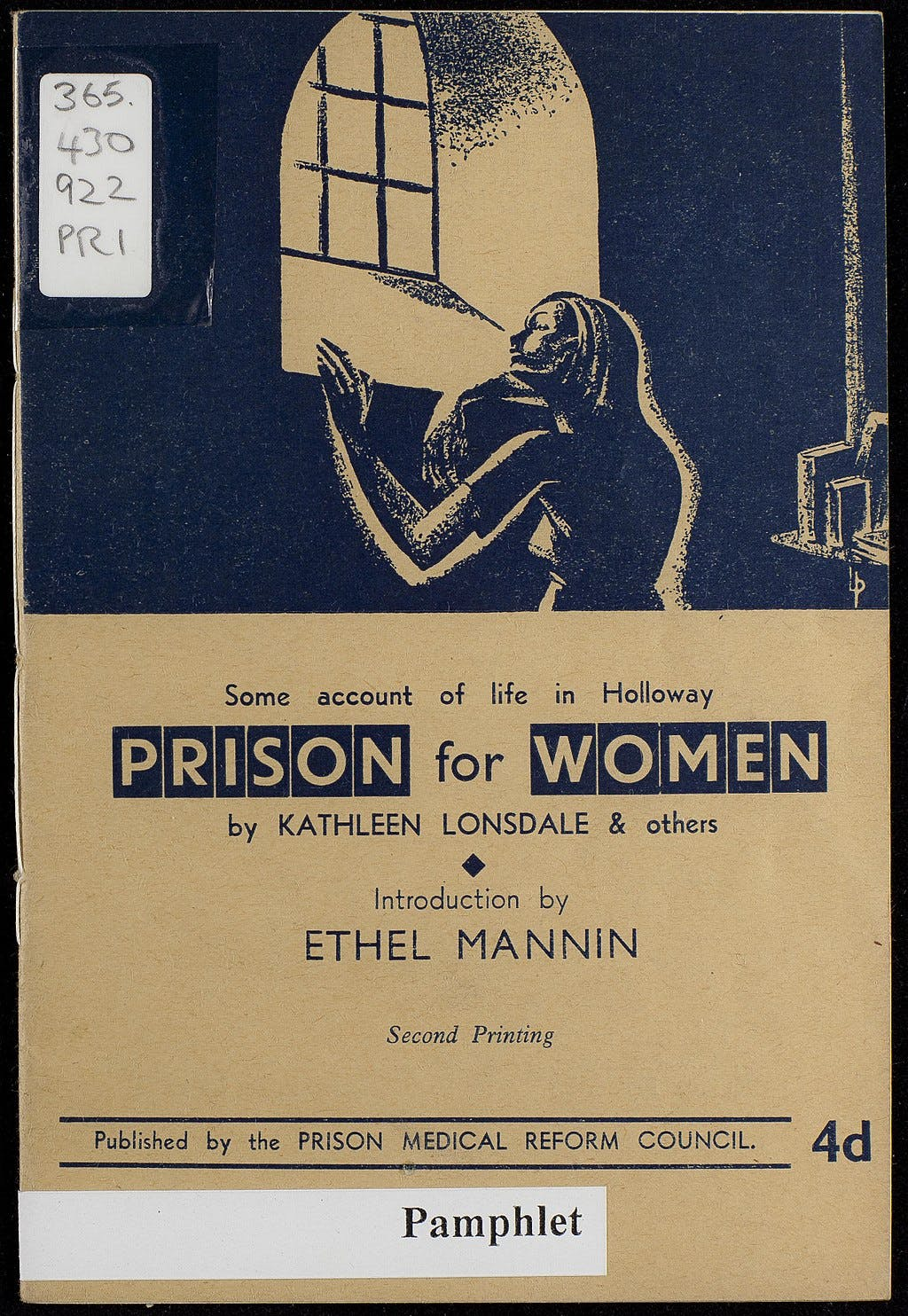 """A pamphlet written by Kathleen Lonsdale called """"Prison for Women"""""""