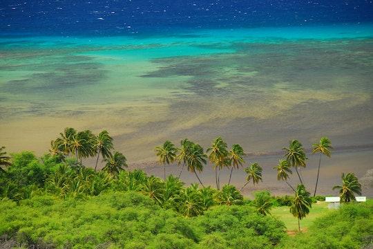 Kawela Beach Park Molokai Hawaii (Maui County). The shadows of the reef can be seen.