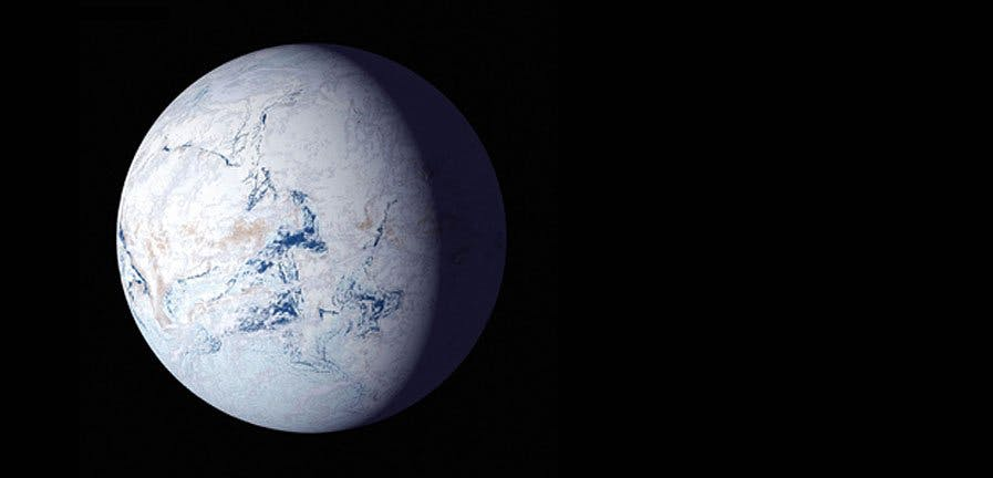 artist's drawing of what snowball earth may have looked like, white Earth on a black background