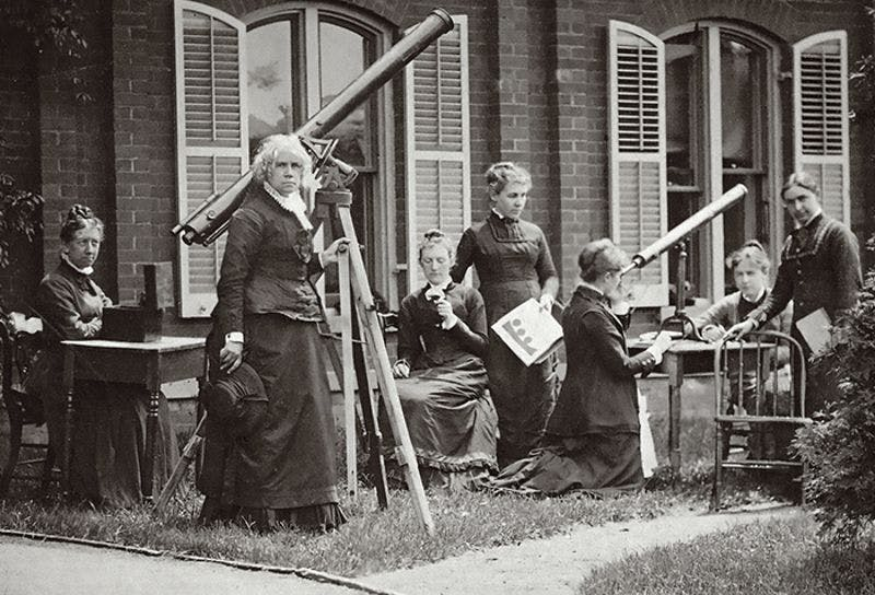 black and white photograph of maria mitchell and other astronomers