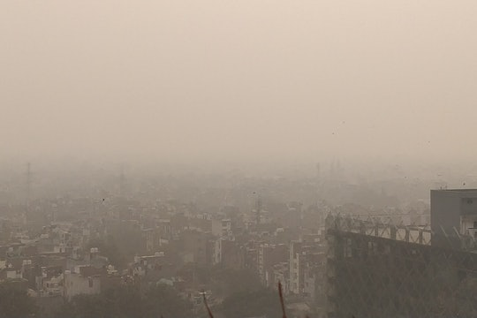 Cityscape obscured by air pollution in New Dehli, India