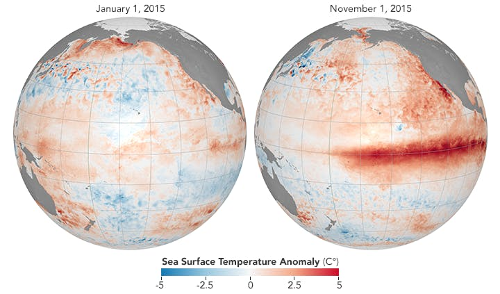A map of the Pacific Ocean showing how El Nino is associated with above-average equatorial sea temperatures in 2015