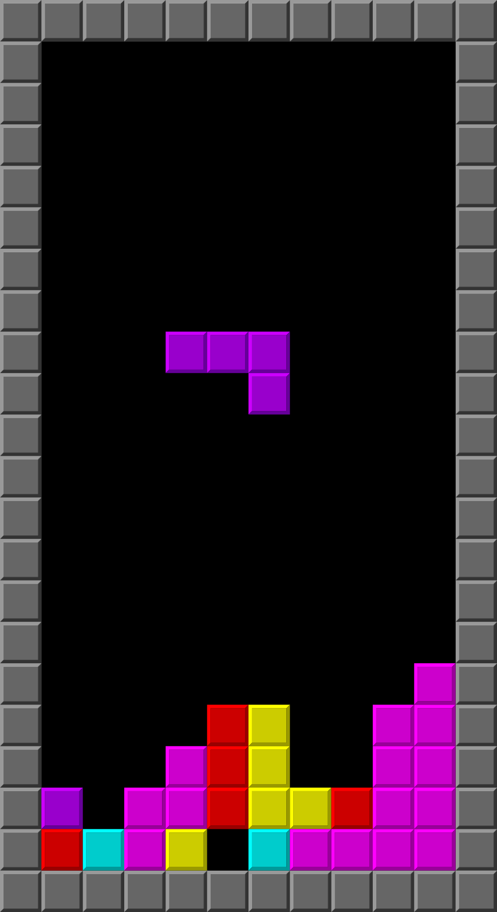 A screenshot of the Tetris videogame.