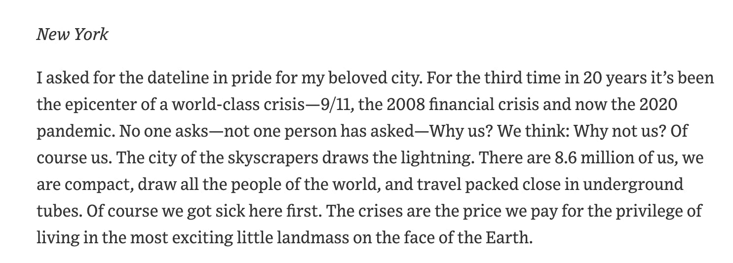 The first paragraph of Peggy Noonan's April 2nd, 2020 op-ed for the Wall Street Journal