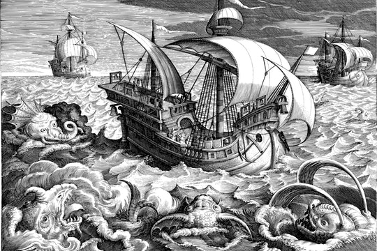 drawing of a ship and sea monsters