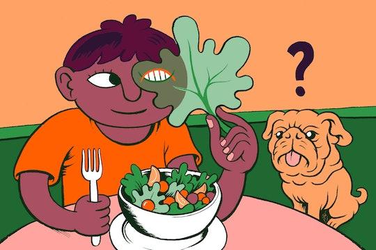 Colorful GMO salad illustration