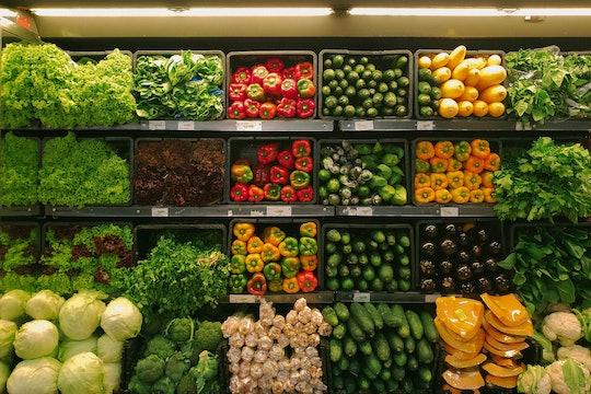 grocery store shelves full of vegetables