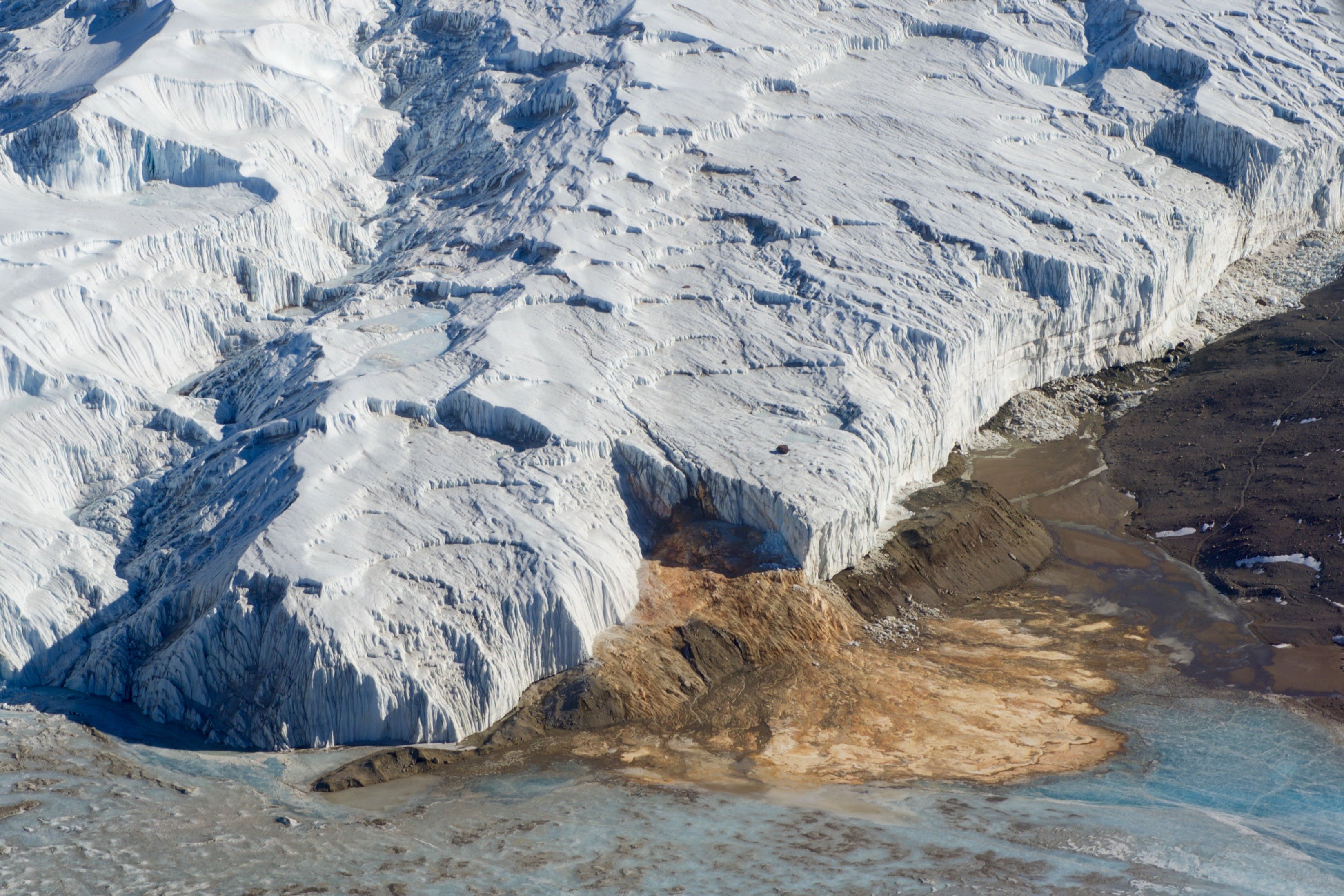 Blood Falls, an iron rich plume of seawater from the Taylor Glacier  in the McMurdo Dry Valleys in Antarctica.